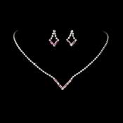 Silver Pink Rhinestone Necklace & Earring Set NE 341