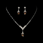 Silver Light Brown Crystal Drop Jewelry Set NE 344