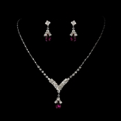 Necklace Earring Set 344 Silver Fuchsia