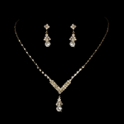 Gold Clear Crystal Drop Jewelry Set NE 344