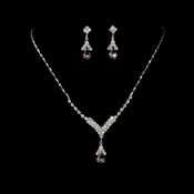 Silver Light Amethyst Crystal Drop Jewelry Set NE 344
