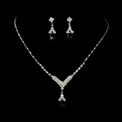 Silver Dark Amethyst Crystal Drop Jewelry Set NE 344
