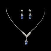 Silver Light Blue Crystal Drop Jewelry Set NE 344