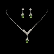 Silver Peridot Green Crystal Drop Jewelry Set NE 344