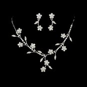 Beautiful Floral Silver Jewelry Set NE 363
