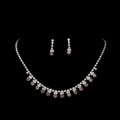 * Light Amethyst Accented Necklace & Earring Jewelry Set NE 358