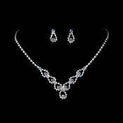 Sparkling Light Blue Crystal Bridal Jewelry Set NE 360