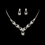 Sparkling Silver Clear Crystal Bridal Jewelry Set NE 360