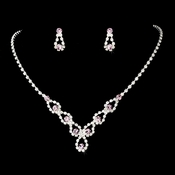 Silver and Lt Amethyst Necklace Set NE 360