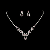 Sparkling Pink Crystal Bridal Jewelry Set NE 360