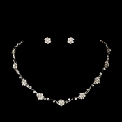 Silver Clear Floral Rhinestone Necklace & Earring Set NE 384
