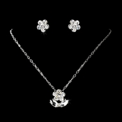 Children�s Silver Clear Rhinestone Flower Necklace & Earring Set 410