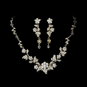 Swarovski Crystal Floral Bridal Jewelry Set NE 1320 Gold Clear