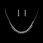 Necklace Earring Set NE 3108 Silver Pink