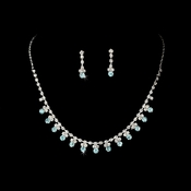 Necklace Earring Set NE 3108 Silver Deep Aqua