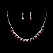 * Necklace Earring Set NE 3108 Silver Fuchsia