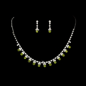 * Necklace Earring Set NE 3108 Silver Lime