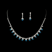 * Necklace Earring Set NE 3108 Silver Turquoise