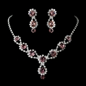 Silver Necklace & Earring Set with Light Amethyst Crystals 4362
