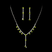 Necklace Earring Set NE 7157 Silver Periodot