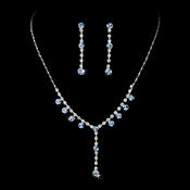 Necklace Earring Set NE 7157 Silver Light Blue