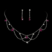 * Silver Fuchsia Necklace & Earring Bridal Jewelry Set NE 8000