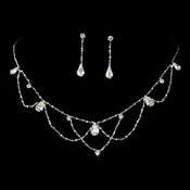 Silver Clear Necklace & Earring Bridal Jewelry Set NE 8000