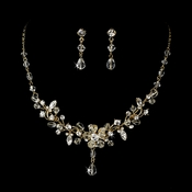 Swarovski Crystal Bridal Jewelry Set NE 8003 Gold