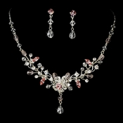 Swarovski Crystal Bridal Jewelry Set NE 8003 Pink