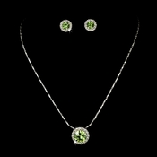 Simple Peridot Green Pendant Jewelry Set NE 71576