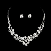 Silver Crystal Jewelry Set NE 8313