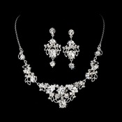 Silver Crystal Necklace Earring Set NE 8310