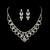 Fabulous Silver Clear Rhinestone Necklace & Earring Set 1021