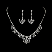 Fabulous Silver Clear Rhinestone & Austrian Crystal Necklace Earring Set 7034