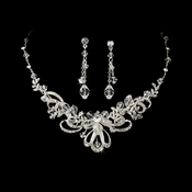 Silver Swarovski Crystal Jewerly Set NE 7324