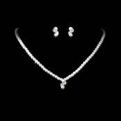 * Silver & White Pearl Necklace Earring Set NE 124