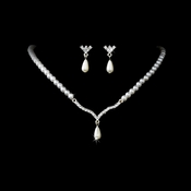 Silver & White Pearl Necklace and Earring Set NE 129