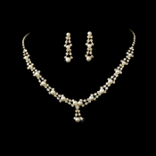 Gold & Ivory Pearl Necklace Earring Set NE 228