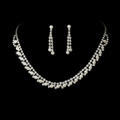 * Silver & White Pearl Necklace and Earring Set NE 229