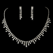 Rhinestone Necklace & Earring Set NE 3071 Silver Clear