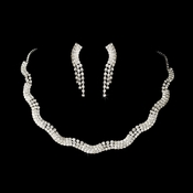 Silver Clear Rhinestone Necklace & Earring Set NE 70088