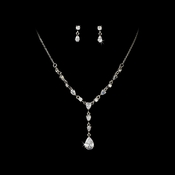 Elegant Drop CZ Necklace Earring Set NE 983