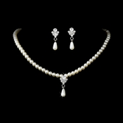 Necklace Earring Set NE 130 Silver Ivory