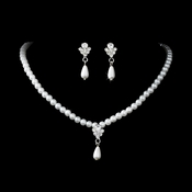 Necklace Earring Set NE 130 Silver White