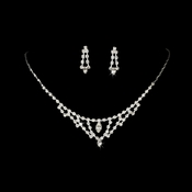 * Necklace Earring Set 333 Silver Clear