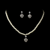 Necklace Earring Set NE 406 Silver (White or Ivory)