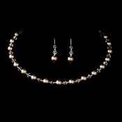 Champagne Pearl Choker Necklace & Earrings Set 511