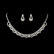 * Necklace Earring Set NE 519 Silver Clear ** Discontinued**