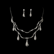* Necklace Earring Set NE 984 Silver Clear