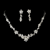 Necklace Earring Set NE 5605 Silver Clear